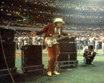 Stevie Ray Vaughan performs the National Anthem at the Houston Astrodome April 10, 1985